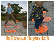 Easy set up Halloween games for little kids! Here are a few ways we got moving outside, putting a Halloween twist on our moves.