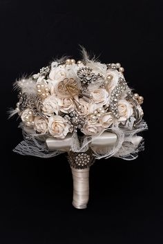 Ivory Bridal Bouquet With Brooches And Lace. £310.00, via Etsy.