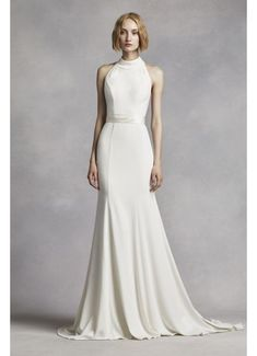 7a4b136433272 This minimalist chic crepe gown will have you looking flawless as you say  your I Do's