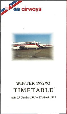 GB Airways system timetable 10/25/92