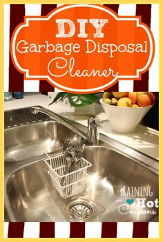 DIY Garbage Disposal Cleaner *Get more FRUGAL Articles, tips and tricks from Raining Hot Coupons here* DIY Garbage Disposal Cleaner Garage disposals can be a real life saver in the kitchen. Homemade Cleaning Supplies, Household Cleaning Tips, Household Cleaners, Cleaning Hacks, Cleaning Recipes, Homemade Products, Kitchen Cleaning, Diy Cleaners, Cleaners Homemade