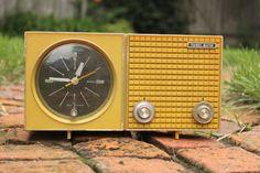 Vintage Yellow Clock Radio