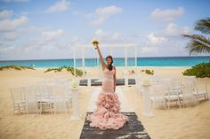 hard rock punta cana wedding. {sue + jose} beach ceremony Love the color of this dress.... i would love a different color dress!