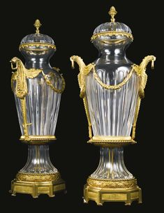 A large pair of gilt-bronze mounted molded glass vases and covers<br>Continental, mid-20th century | Lot | Sotheby's