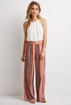 It looks like I could wear this outfit every day. Striped Paisley Gauze Pants   Forever 21