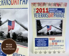 This poster was designed and digitally printed by Harpeth Graphics for WAKM 950 AM Radio Station to advertise the 2011 Veterans Day parade in Franklin, TN. The photo used in the design was taken by Hugh Tharpe, Memorial Day, 2009 in Franklin, TN.