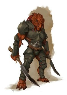 Dragonborn Fighter - Pathfinder RPG PFRPG DND D&D d20 fantasy