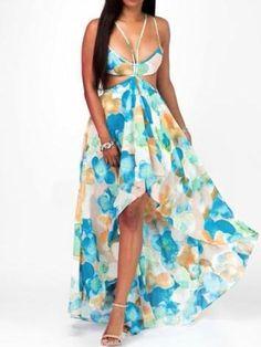 d4b4d9963e8 Blue Floral Sleeveless Double-Layered Maxi Dress. Long DressesBeach DressesPlus  Size DressesSexy ...