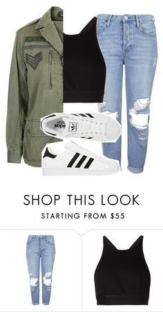 """khaki"" by feathersandroses ❤ liked on Polyvore featuring Topshop, T By Alexander Wang and adidas"