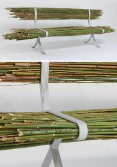 Off the grid product design Bamboo Bench raw wood aluminum bench furniture design eco design Design Wood, Nachhaltiges Design, Bamboo Design, Home Design, Chair Design, Design Ideas, Deco Design, Design Projects, Interior Design