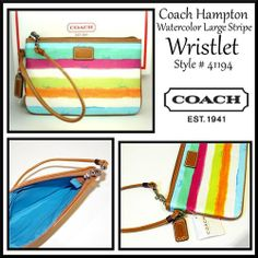 'Coach Hampton Watercolor Large Stripe Wristlet' is going up for auction at  2pm Fri, Jan 10 with a starting bid of $22.