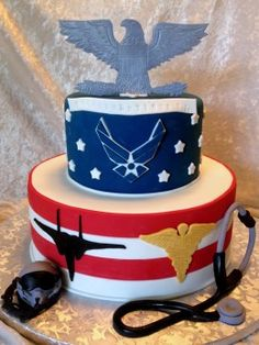 Air Force Doctor Cake by KaraBoo Bakery Military Cake, Military Party, Military Homecoming, Navy Military, 3d Birthday Cake, Special Birthday Cakes, 80th Birthday, Army Retirement, Retirement Cakes