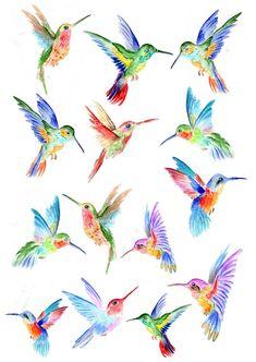 Hummingbird Wall Decals Hummingbird Vinyl Decals for Watercolor Hummingbird, Hummingbird Art, Watercolor Bird, Watercolor Paintings, Colorful Hummingbird Tattoo, Flor Tattoo, Wall Decals, Vinyl Decals, Hummingbird Pictures