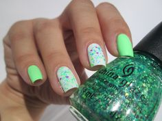 China Glaze green neon mani with Lime after lime & Blanc out & Can I get an untz untz