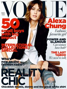 March 2010 Alexa Chung wears wool blazer, £1,140. Cotton Shirt, £2245. Beaded denim jeans, £7,415. All Ralph Lauren. Leather clogs, from £470, Chanel. Cameo skull necklace, from £850, Iosselliani.com. All make-up by Revlon. Hair: Sam McKnight. Make-up: Hannah Murray. Nails: Sophy Robson. Fashion editor: Kate Phelan