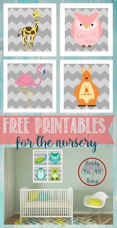 Here's a great dose of decoration inspiration and wall decor ideas for your baby's room! DIY arts and crafts are the perfect way to add pretty artwork to your home. Enjoy these free nursery printables of cute baby animals.