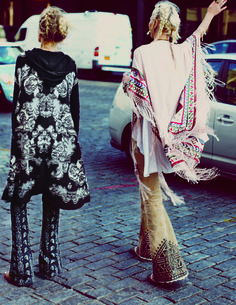 1970s Bohemian. Bell bottoms and ponchos, all embroidered.