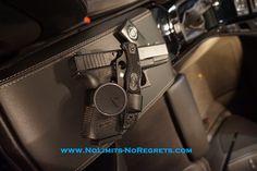black #glock 23 #pistol, #spyderco #knife, and #xplus #watch in #cadillac #ctsv #gun #fashion #luxury #technology