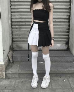 Edgy Outfits, Swag Outfits, Grunge Outfits, Girl Outfits, Fashion Outfits, Kawaii Fashion, Girl Fashion, Womens Fashion, Ulzzang Fashion