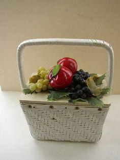Vintage basket purse with fruit
