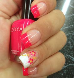 Cute summer manicure bright nail designs, nail tip designs, fingernail desi Bright Nail Designs, Nail Tip Designs, Summer Nail Designs, Art Designs, Fingernail Designs, Pedicure Designs, Pretty Designs, Summer Design, Flower Designs