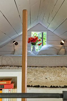 Maybe we could somehow utilize the slanted roof line for a bed because halfway up the wall would be deeper than at the bottom.