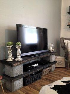 Diy tv stand ideas diy and crafts необычная мебель, мебель, Diy Furniture Tv Stand, Tv Furniture, Diy Furniture Projects, Home Projects, Brick Shelves, Diy Home Decor, Room Decor, Diy Tv Stand, Sweet Home