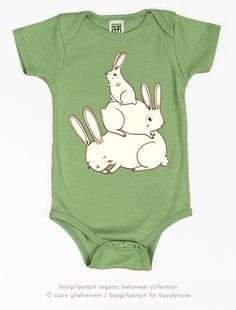 Bunny Pile Baby Onesie - Organic Baby Bodysuit (Sage Green) by Susie Ghahremani / boygirlparty.com