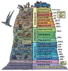 The geologic time scale helps scientists try and understand earth& past. Human beings, recently on the scene, are but a small piece of earth& history. Earth Science, Science And Nature, Illustration Book, Historia Universal, Teaching Science, Mad Science, Science Education, Life Science, Archaeology