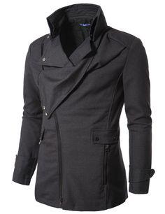 Doublju US Mens Hooks Collar Zipup Jacket Gray HCJ