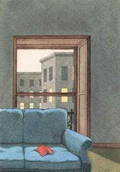 illustration of a red book on a sofa by French illustrator Pierre LeTan