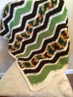 Our Big, Loud, Hyper, and Happy Family: Crocheted Camo Ripple Blanket Free Pattern