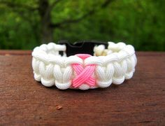 Paracord Bracelet Pink Ribbon Breast Cancer by ReadyAimCraft, $6.00