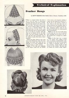 Vintage Hairstyles With Bangs Modern Beauty Shop Magazine . Feather bangs Click the pic for larger directions. Vintage Hairstyles Tutorial, 1940s Hairstyles, Wedding Hairstyles, Hairstyles Videos, Vintage Mode, Moda Vintage, Short Cropped Hair, Feathered Bangs, Historical Hairstyles