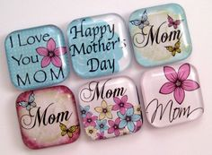 Mother's Day Magnets Glass Magnets, Mom Day, Clothespins, Unique Jewelry, Bookmarks, Handmade Gifts, Hobbies, Crafts, Printables