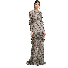 Alexis Essense Dress (€1.580) ❤ liked on Polyvore featuring dresses, gowns, floral embroidery sequin, white long sleeve dress, white long-sleeve dresses, long sleeve cocktail dresses, long sleeve white gown and evening maxi dresses