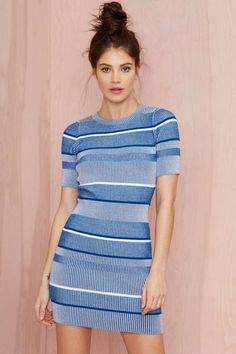 Nasty Gal All Blues Ribbed Sweater Dress $68 | Shop Dresses at Nasty Gal