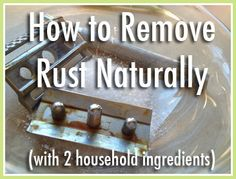 How to Remove Rust From Most SurfacesYou will need:      Salt     A whole lemon or white vinegar (or something equally acidic)     An old toothbrush (I like to wrap the handle in tape so I don't get it confused with our personal toothbrushes!)     (Very persistent rust stains on fabric or carpet may require diluted ammonia, described below. This is rare, in my experience.)
