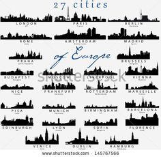 Set of Detailed vector silhouettes of European cities by Irina Solatges, via Shutterstock