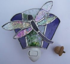 Stained glass dragonfly nightlight confetti by