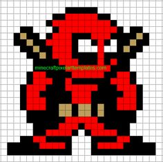 Minecraft Pixel Art Templates: Deadpool. Loveee! <3