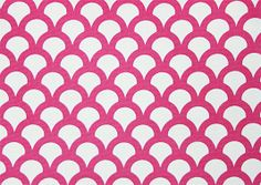 Kyoto Koi Fabric A white cotton canvas fabric printed with a fuschia pink geometric design