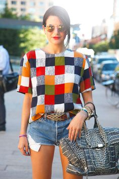 Occupation: Blogger, MissLadyFinger Top: vintage Shorts: Levi's Glasses: Topshop Bag: 3.1 Phillip Lim Similar items: Checkered top: Marni top, $640; marni.com Kenzo Checkered Sweater, $789; farfetch.com Shorts: Joe's Jeans Elise Shorts, $91.99; zappos.com Bag: 3.1 Phillip Lim Pashil Croc-Effect Leather Tote, $975; net-a-porter.com Kelly Stuart - ELLE.com