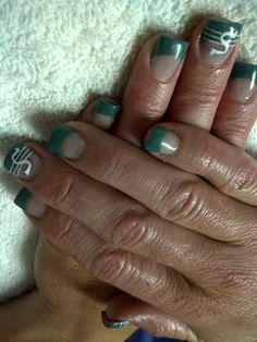 Saskatchewan Rough Rider Fan Saskatchewan Roughriders, Football Nails, Rough Riders, Acrylic Nail Art, Accent Nails, French Nails, Nail Tech, Pretty Nails, Nail Art Designs