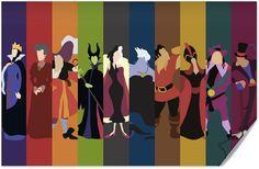 Disney Villains #Minimalist #Poster - Evil Queen, Lady Tremain, Captain James Hook, Maleficent, Cruella De Vil, Ursula, Gaston, Jafar, Radcliffe, Dr. Facilier,