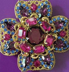 Miriam Haskell Vintage Brooch Gold Tone Filigree Pink Blue Purple Rhinestone #MiriamHaskell