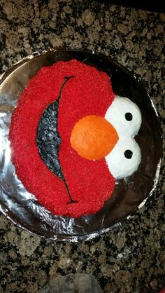 Cookie Monster Face cake made using the Wilton Elmo pan Cookie