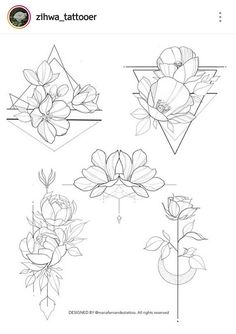Flowers & geometric – - Flower Tattoo Designs - Tattoo World Rose Tattoos, Flower Tattoos, New Tattoos, Body Art Tattoos, Girl Tattoos, Tattoo Roses, Tatoos, Lotus Tattoo, Tattoo Feather