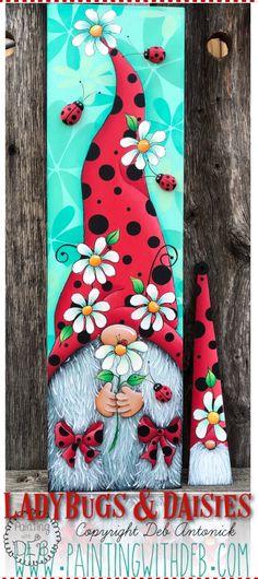 Painted Bricks Crafts, Brick Crafts, Painted Pavers, Painted Boards, Painted Rocks, 4x4 Wood Crafts, Gnome Paint, Black Canvas Paintings, Painting On Wood