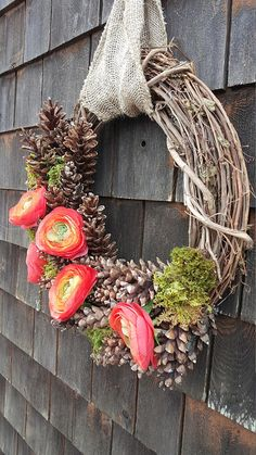 Spring Moss Pinecone and Rununclus Wreath